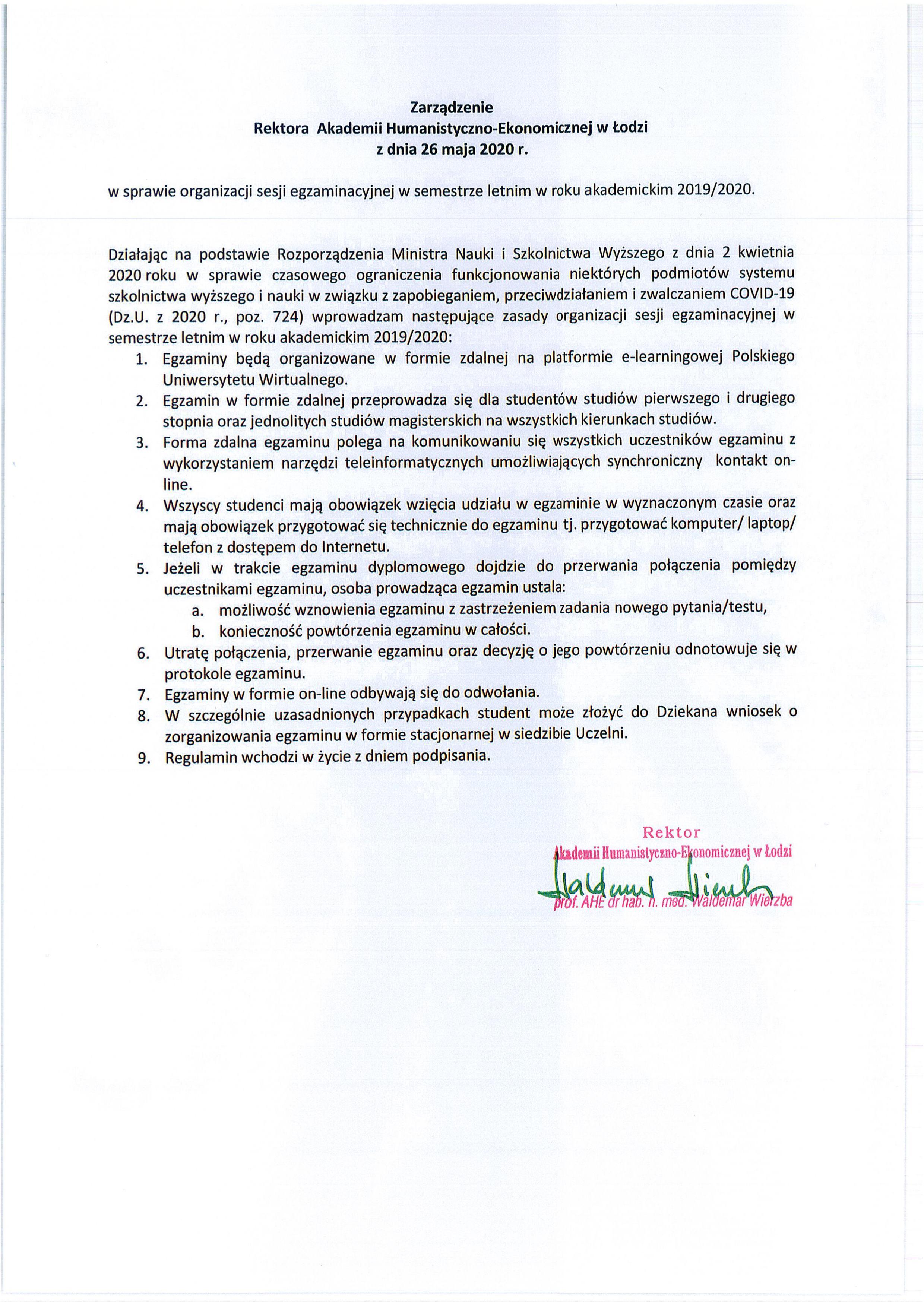 zarządzenie rektora