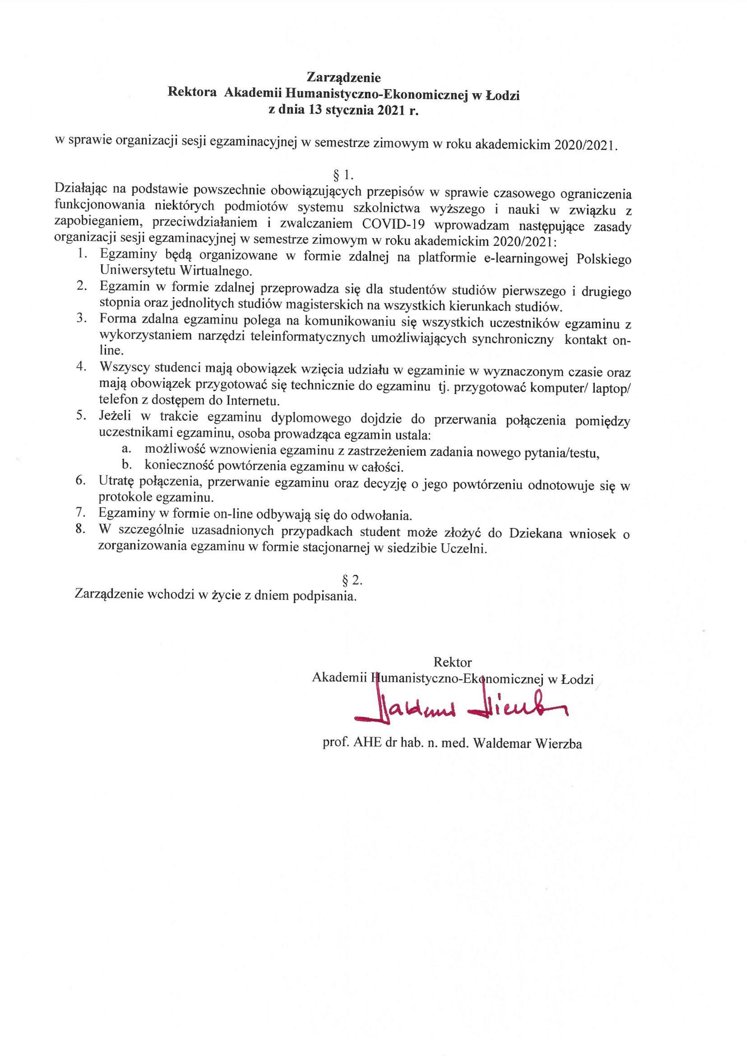 Zarządzenia Rektora dot. sesji i organizacji zajęć dydaktycznych