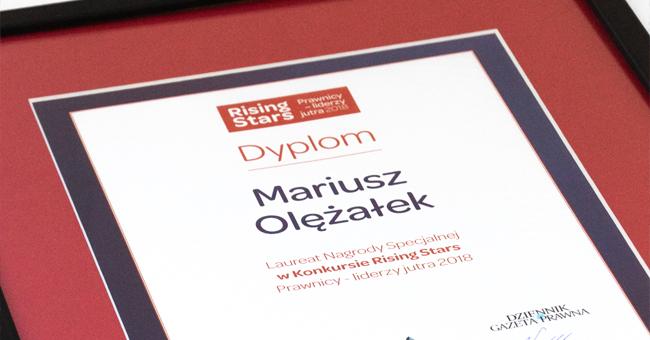 Dziekan adw. dr Mariusz Olężałek nagrodzony