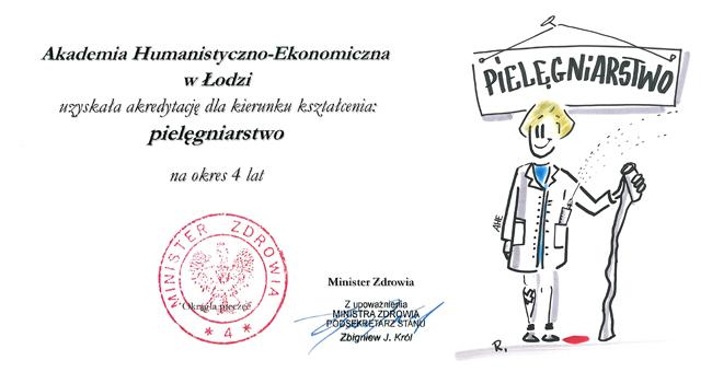 Certyfikat akredytacyjny dla kierunku PIELĘGNIARSTWO!