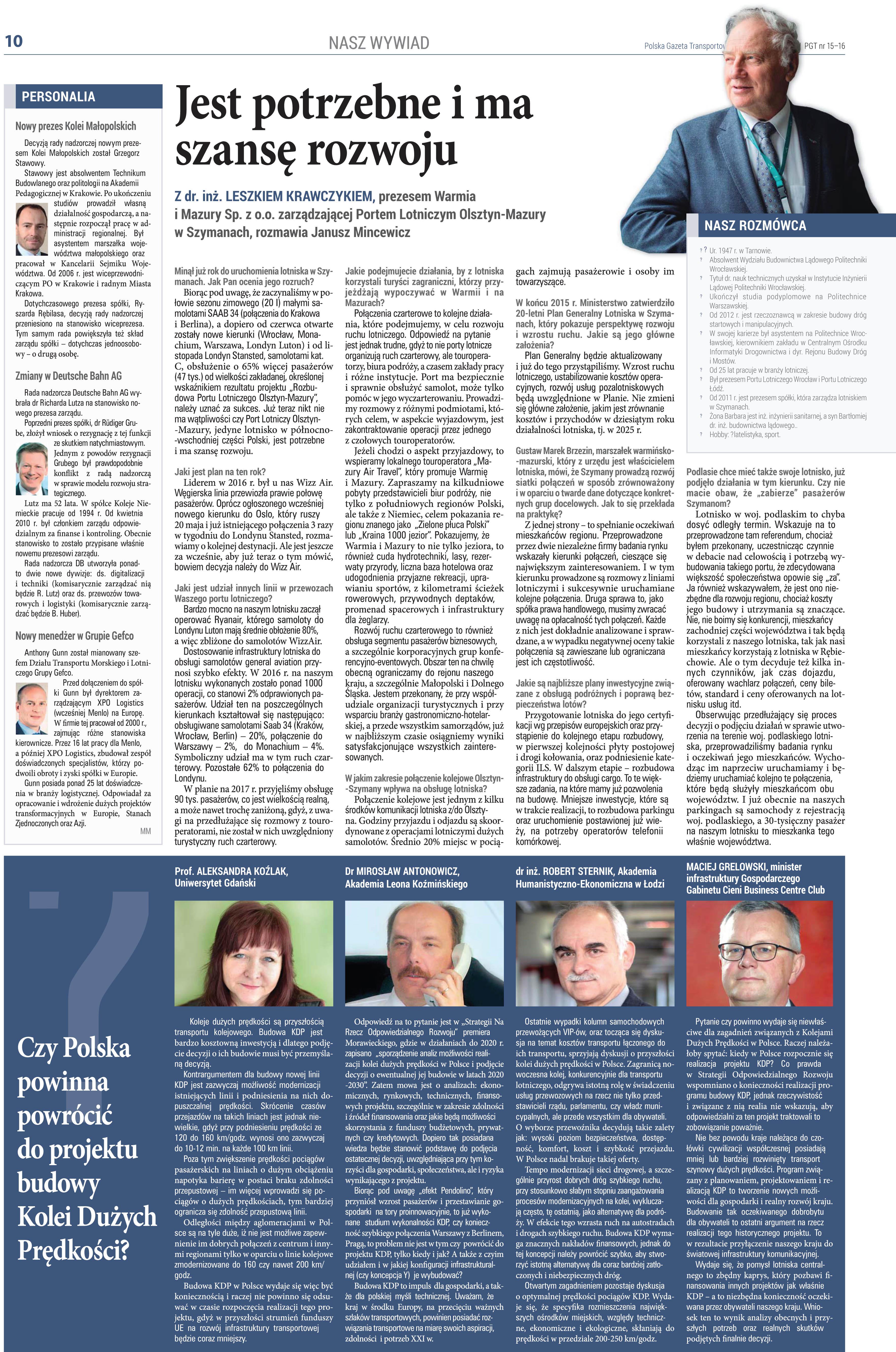 Robert Sternik w wywiadzie dla Polskiej Gazety Transportowej
