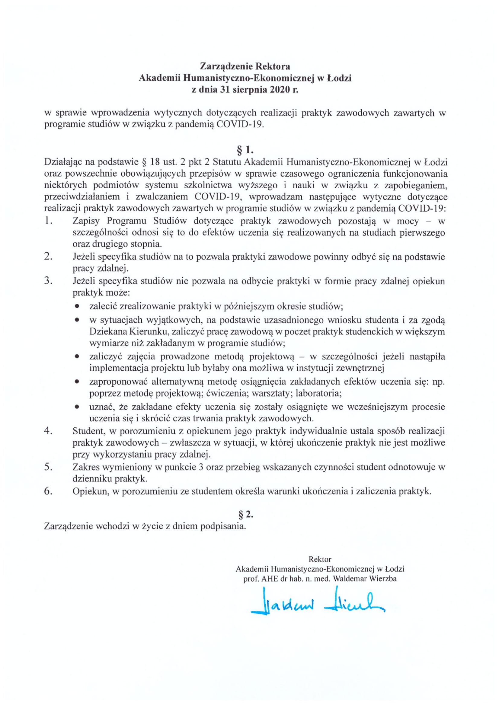 zarządzenie rektora dotyczące praktyk